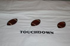 Embroidered Football Pillow case by HabereksEmbroidery on Etsy, $6.00
