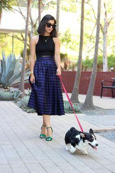 midi skirt + crop top + heels  This Time Tomorrow: cruisin'