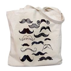Canvas Tote Bag - Mustache Collection Print. ($12) ❤ liked on Polyvore