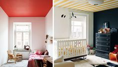 painted ceiling ideas | really love the look of white crown molding with a bold ceiling ...