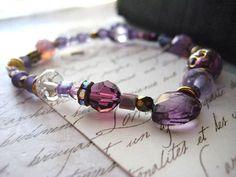 Purple bracelet lavender beads goldtone spacers by Candies64