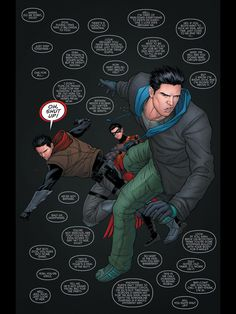Dick Grayson, Jason Todd and Tim Drake. Grayson #12. A fantastic comic, recommended. :)
