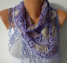 Lilac Sequin Scarf    Cowl with Lace Edge by fatwoman on Etsy, $19.00
