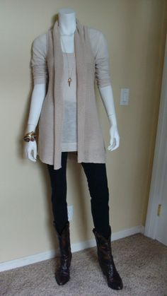 Daily Look:  CAbi Spring '12 Bree Jean, Gathered Tee and Sweater Vest.  A late spring rain means cowboy boots work