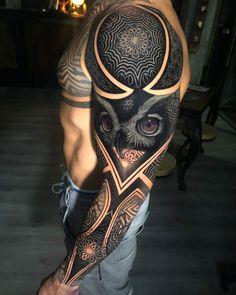 Full Sleeve Tattoo Designs For Men - Best Sleeve Tattoos For Men: Cool Full Slee.Full Sleeve Tattoo Designs For Men - Best Sleeve Tattoos For Men: Cool Full Sleeve Tattoo Ideas and Designs Full Sleeve Tattoo Design, Owl Tattoo Design, Tribal Sleeve Tattoos, Best Sleeve Tattoos, Tattoo Designs Men, Sleeve Tattoo Men, Design Tattoos, Tattoos Skull, Mens Sleeve