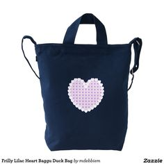 Frilly Lilac Heart Baggu Duck Bag Duck Canvas Bag