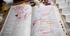 Guests were instructed to choose a word that described the bride and groom in a dictionary and sign their signature next to it - Photo by: Nancy Cohn Photography; Wedding planner: Heather Lowenthal