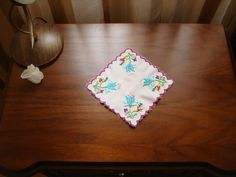 Hand embroidered rectangle doily by embroiderytrend on Etsy