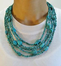 Jay King DTR Sterling Silver 5 Strand Turquoise Necklace