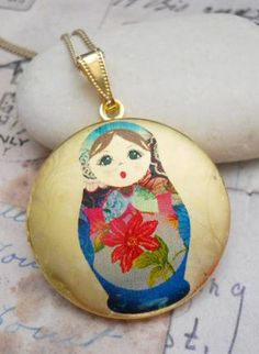 Russian+Nesting+Doll+Image+Locket+Necklace,++Jewelry,+locket+gold+brass+doll+bohemian,+Bohemian+(Boho)+/+Hippie