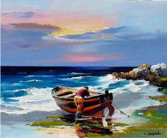 French artist Christian Jequel uses a painting knife to create bright, colorful paintings that depict beautiful scenes of nature - a departure from what mo Boat Painting, Painting & Drawing, Colorful Paintings, Beautiful Paintings, Art Gallery, Guache, Beach Scenes, Christian Art, French Artists