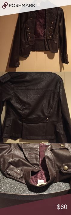 Jacket size small chocolate brown Chocolate brown jacket with half zipper in front and zippers on sleeve! Super comfortable stylish small jacket! Missing one button on shoulder decoration as shown can easily purchase a replacement button Moon Collection Jackets & Coats