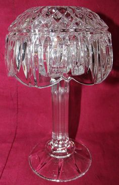"Crystal Pedestal Base Fairy Lamp - Ribbed Shaft Base & Diamond Point Top - 8"" T"