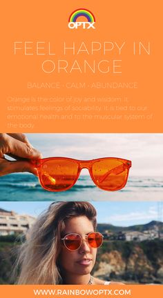 Orange wayfarers and orange round shaped sunglasses // BENEFITS of ORANGE: Orangeisthecolorofjoyandwisdom.Itstimulatesfeelingsofsociability.Itistiedtoouremotionalhealthandtothemuscularsystemofthebody. // SHOP: rainbowoptx.com #rainbowoptx #sunglasses #fashion