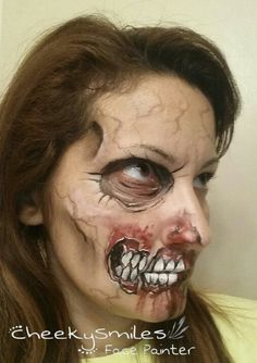 Scary Zombie makeup by CheekySmiles Face Painter in Oklahoma City!