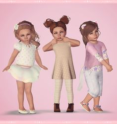 """jokeplease: """"sim-plystefichop: """"The Triplets Wardrobe #1 Due to some questions regarding the triplets clothing, I've put together a selection of looks they wore in my pictures and provided links. More..."""