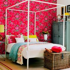 Cheerful Summer Interiors: 49 Astounding Fresh Summer Bedroom Designs : 49 Astounding Fresh Summer Bedroom Designs With White Bed Yellow Pillow Red Flower Wallpaper Wooden Wardrobe Basket Carpet Nighstand Lamp Hardwood Floor