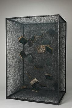 Chiharu Shiota  Suspended items inside box, similar to future dark matter experiments, TRY NEXT