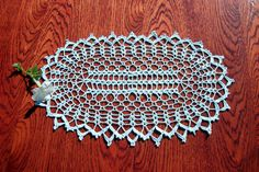 Light blue oval crochet doily Lace oval doily Oval crochet doily Blue table decor Crochet home decor Lace blue doily Oval centerpiece - pinned by pin4etsy.com