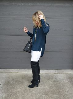Success on Stilettos, an Ohio fashion blog; navy and black and winter white outfit