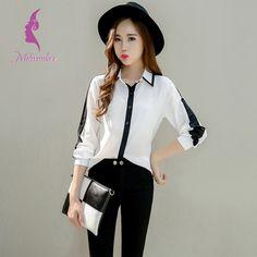 Милуоки стиль работы шифон женский рубашка черный белый контрастного цвета дна рубашки с длинным рукавом блузка женщины свободного покроя рубашка