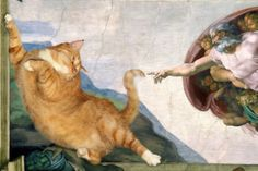 Pictured: World's greatest paintings given CAT makeover by talented Russian artist This cracks me up. World's greatest paintings given CAT makeover by talented Russian artist I Love Cats, Crazy Cats, Cool Cats, Fat Cats, Cats And Kittens, Cats Bus, Great Paintings, Funny Art, Artist Art