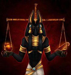 Anúbis é o deus egípcio que julgava os seres humanos no momento da morte. Frequentemente associado com Ma'at, a deusa da justiça, uma de suas funções era pesar o coração contra a pluma de Ma'at (a verdade).