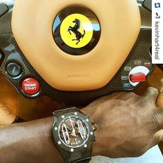 """#Repost Alertgreat shot by @kevinhart4real ・・・ Carbon fiber x Carbon fiber #DopePic #WatchGameIsDisgusting #TimeIsPriceless #ap #audemarspiguet #luxurywatch #luxury #watches #watch #millionaires #ferrari #car #carporn #classy #wealth #ferraricar #america #uk #aroundtheworld"" Photo taken by @millionaireshoppinggroup on Instagram, pinned via the InstaPin iOS App! http://www.instapinapp.com (08/23/2015)"
