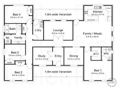 The Darling « Australian House Plans. H layout: maybe move kitchen to lounge with wall to entry kitchen facing back veranda, door to l'dy, no wall to family/meals, and original kitchen area either lounge or maybe an indoor outdoor area. U Shaped House Plans, U Shaped Houses, Pool House Plans, 4 Bedroom House Plans, Dream House Plans, The Plan, How To Plan, Australian House Plans, Australian Homes