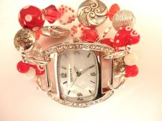 Red, White, and Silver Interchangable  Watchband   jnldesigns - Jewelry on ArtFire