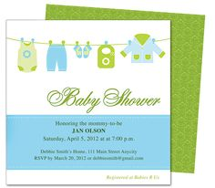 Clothesline Baby Shower Template Invitation.  Edit yourself with Word, Publisher, Apple iWork Pages. Available in blue (shown) and pink.