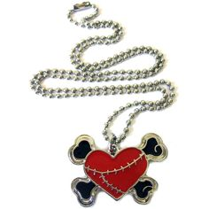 Red Heart Crossbones Necklace. ($9.47) ❤ liked on Polyvore