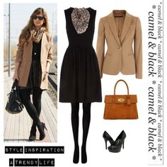 Black dress & Camel blazer by monica-wv on Polyvore featuring polyvore, fashion, style, Dorothy Perkins, Gucci, Jessica Simpson, Mulberry and clothing