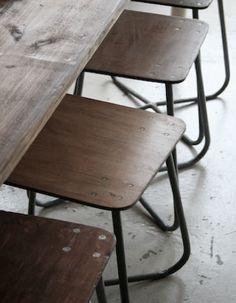 simple, laminated ,wood & steel