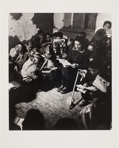 Battle Against Illiteracy, woman reading to children, Calabria, Italy 1950