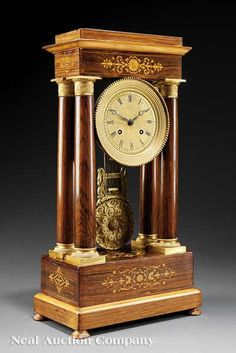 Louis Philippe Rosewood and Marquetry Portico Clock, c. 1848,