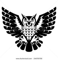 Owl with open wings and claws. Black and white tattoo of eagle owl, front view. Qualitative vector illustration for circus, sports mascot, zoo, wildlife, nature, etc. It has only solid color - stock vector