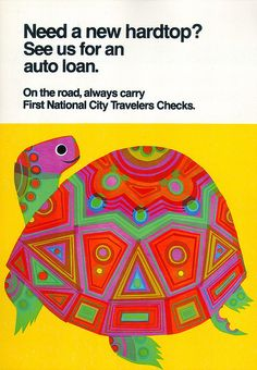David Klein turtle ad in cut acetate for a late '60s campaign by First National City Bank of New York