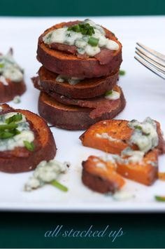 Sweet Potato Stacks with Blue Cheese and Bacon | Recipe on FamilyFreshCooking.com