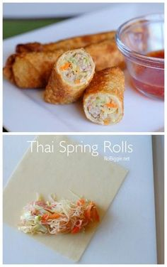 Thai spring rolls are so delicious! Learn how to make Thai Spring Rolls at home. They make the best make ahead appetizer, they freeze well and they can feed a crowd! Thai Recipes, Asian Recipes, Cooking Recipes, Easy Recipes, Thai Spring Rolls, Vietnamese Spring Rolls, Pork Spring Rolls, Fried Spring Rolls, Vietnamese Egg Rolls