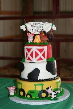 Farm Birthday Cake - Gumpaste figures. Fondant icing and cake decorations.