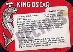 Deviled Sardines And Festive Dip. Recipe proudly displayed by Oscar, King of the Sardines.