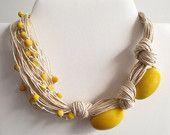 Yellow Oval Tagua Nut Beads, Linen Cord, Asymmetric Necklace