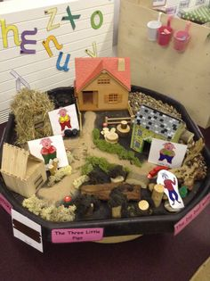 3 little pigs small world! Sensory play, provocation, loose parts, Montessori, Waldorf Traditional Stories, Traditional Tales, Reggio Emilia, Three Little Pigs Story, Fairy Tales Unit, Tuff Spot, Fairy Tale Theme, Tuff Tray, Classroom Displays