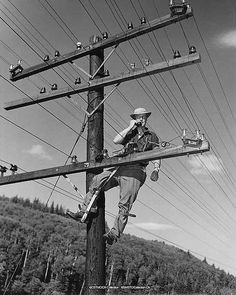 Telephone Lineman 1956 by PanelSwitchman, via Flickr