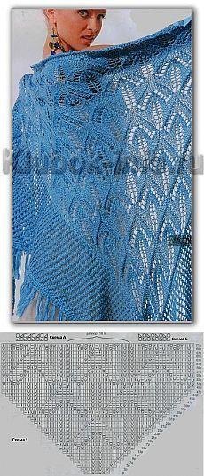 Голубая ажурная шаль спицами.