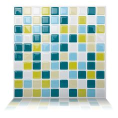 "Found it at Wayfair - 9.84"" x 9.84"" Peel and Stick Wall Tiles in Peacock Green"