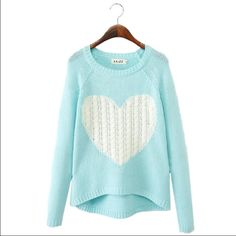 💛Beautiful turquoise heart knit sweater Adorable knit turquoise and white sweater. Pretty medium knit, I might wear a white tank underneath for my own modesty, but I don't think it's necessary (knit is pretty tight). Runs about one size small, please let me know if you'd like specific measurements. Sweaters