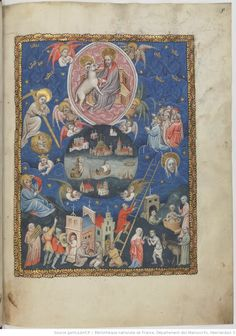 Apocalipsis in dietsche Apocalypse, Book Of Hours, Blessed Virgin Mary, Bnf, Medieval Art, Illuminated Manuscript, Vintage World Maps, Miniatures, Bible
