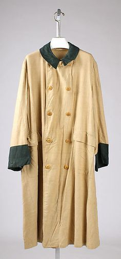 Duster  Date: early 20th century Culture: British Medium: cotton, linen Dimensions: Length at CB: 47 1/2 in. (120.7 cm) Credit Line: Gift of Eleanora Eaton Brooks, 1975 Accession Number: 1975.138.23